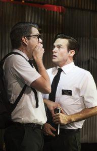 """Fra """"The Book of Mormon"""" på Det Ny Teater.  Carsten Svendsen og Silas Holst. Foto: Miklos Szabo"""